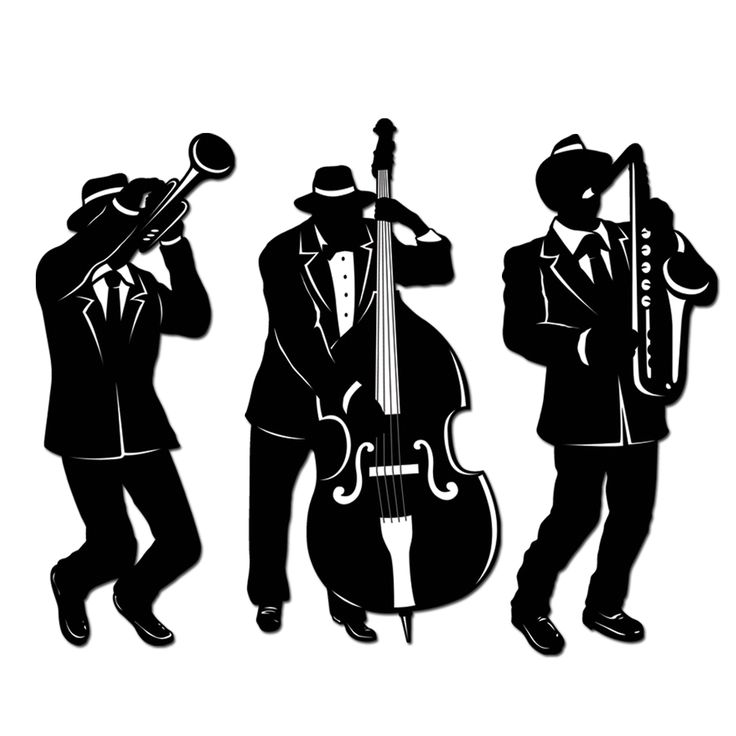 Jazz Trio Silhouettes (printed 2 sides) - bzanyparty.com Cost $3.60