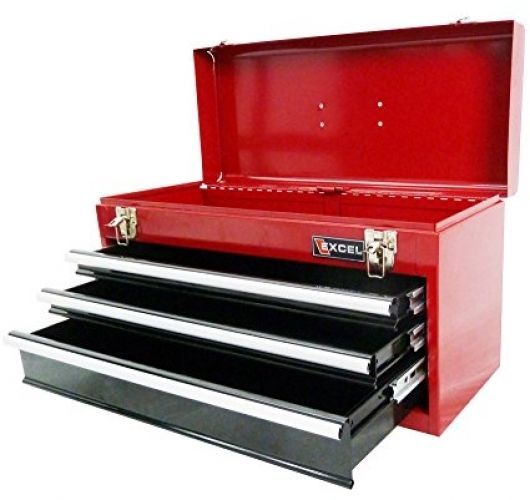 21-Inch Portable Steel Tool Box Red Excel TB133A-Red Storage Cabinet Workshop #Excel