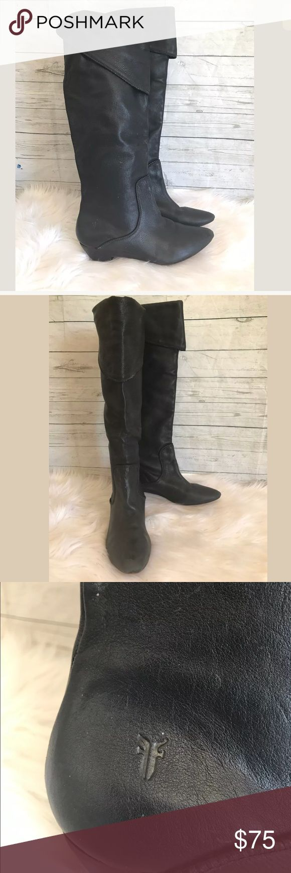 FRYE black leather knee high wedge boots size 8.5 Stitching flaw on back of heels, (see images) and wear on toe. Normal scuffing and creasing. Frye Shoes Over the Knee Boots