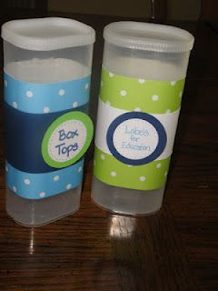 Box Top & Labels for Education containers. I have made these with bread crumb containers and my favorite so far are whey protein containers decorated with designer duct tape plus other craft store tapes.