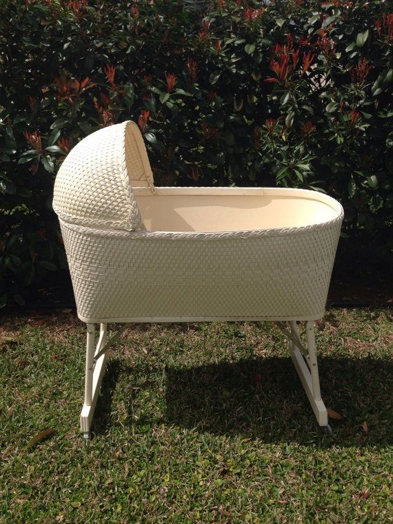 Vintage White Wicker Baby Bassinet 1970's by CarriesCountryGarden