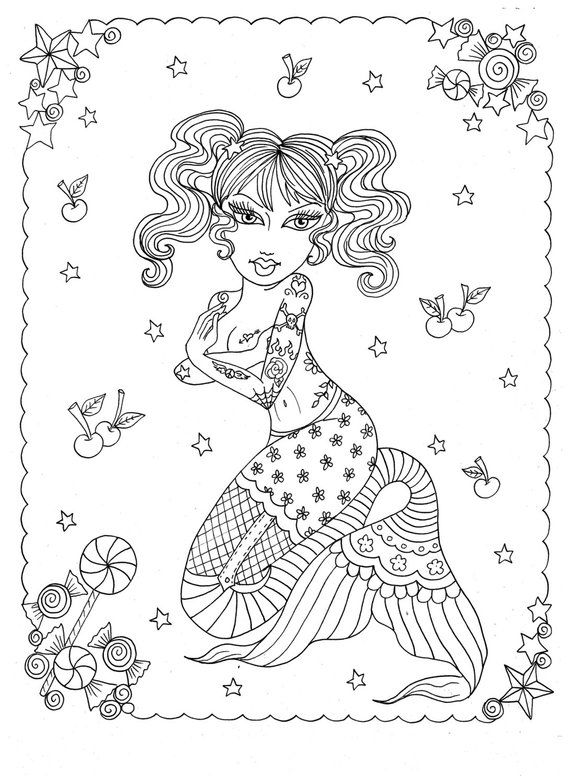 Instant Download to Color Mermaid Art Coloring Page Adult Coloring Fantasy Art