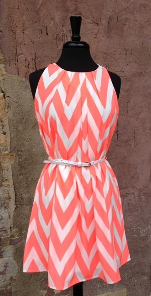 Coral Chevron Dress W White Belt $48. Would love next summer after I've met my weight loss goal.