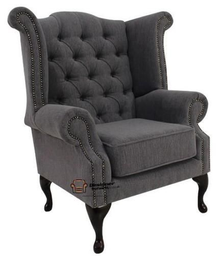 Chesterfield-Armchair-Queen-Anne-High-Back-Wing-Chair-Verity-Steel-Grey-Fabric