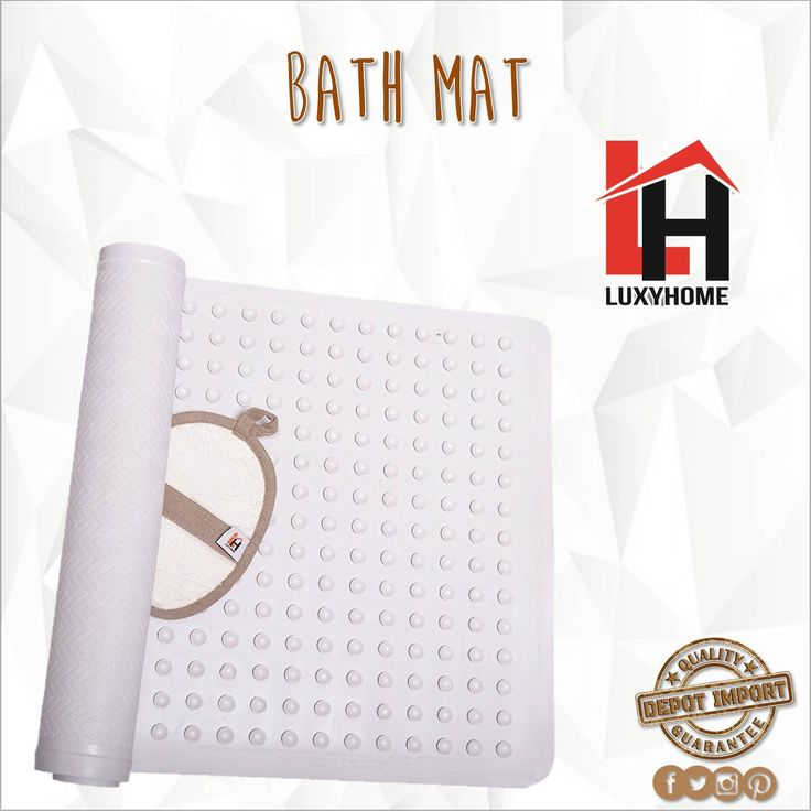 Non Slip Bath Mat Anti-Bacterial Deluxe Shower Mat 16 X 28 inches Fits Any Size Bath Tub White.