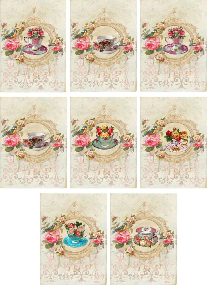Vintage inspired Tea cup roses large note cards set 6 #HandMade #AnyOccasion