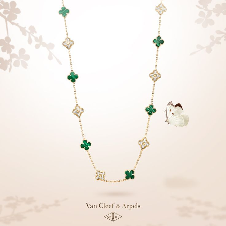 For its new Vintage Alhambra long necklace Van Cleef & Arpels honors a beguiling stone: malachite. The nuances of green associated with yellow gold and diamonds offer an elegant effect. #VCAalhambra