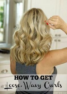 Step by step tutorial with pictures for how to get loose, wavy curls in 10 minutes   Honey We're Home #Longhaircurls