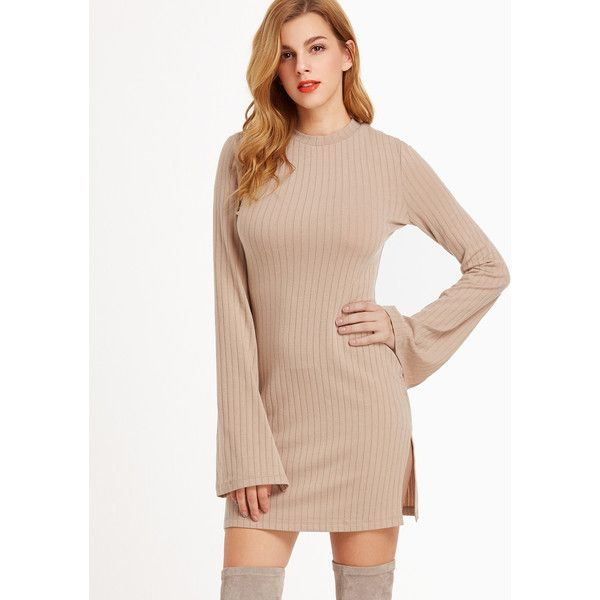 SheIn(sheinside) Camel Ribbed Knit Bell Sleeve Split Side Dress (€13) ❤ liked on Polyvore featuring dresses, camel, long-sleeve maxi dresses, tee shirt dress, t shirt dress, short pink dress and long sleeve short dress