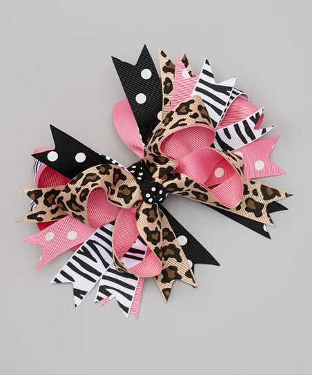 Miss Fancy Pants Black & White Animal Bow Clip