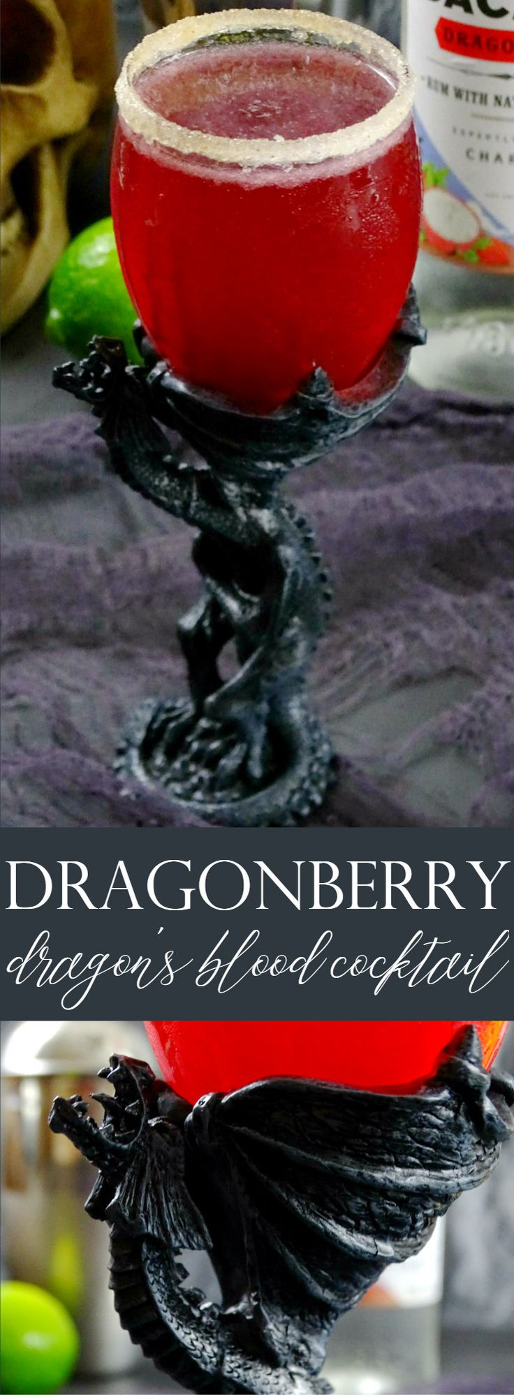 Slay this tart and fruity, slightly spicy Dragon Berry Dragon's Blood Cocktail on Halloween or during your next Harry Potter or Game of Thrones marathon!