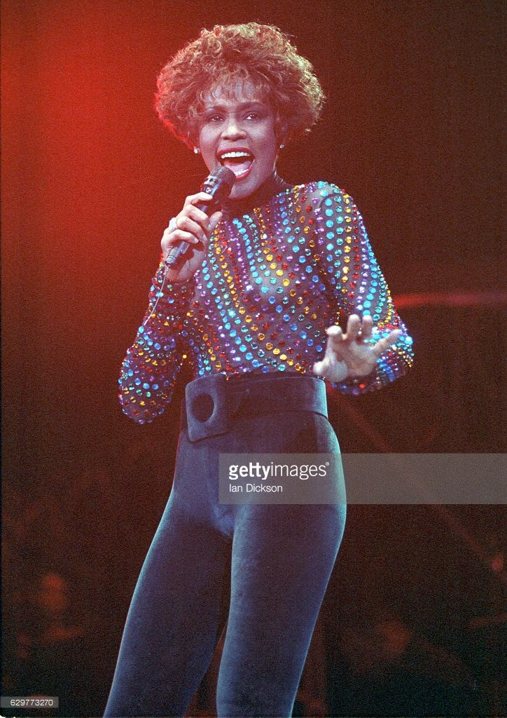 Whitney Houston performing on stage at Wembley Arena, London, 03 September 1991.