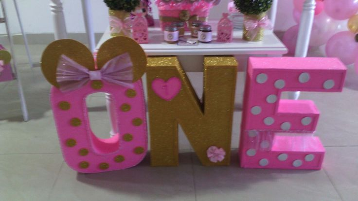 Decoracion Minnie pink and gold