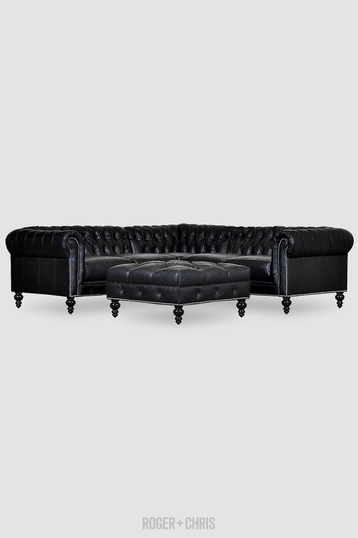 Black Leather Chesterfield Sectional With Matching Tufted Ottoman