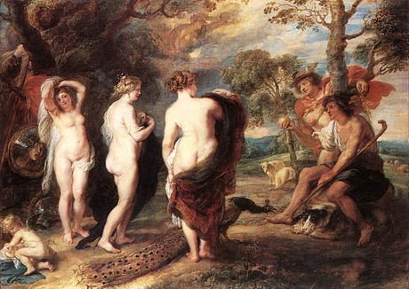 """Ruben's """"Judgement of Paris"""". The goddess Venus, in the centre of the painting with her beautiful back to us, was modelled on his 22 yr old wife Hélène. National Gallery, London."""