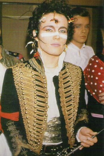 Adam Ant in Military dress jacket. I used to love him even stuck a plaster to my nose to try and copy him!