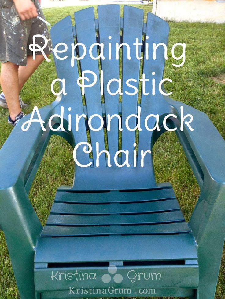 kristina grum at sew curly repainting a plastic adirondack chair