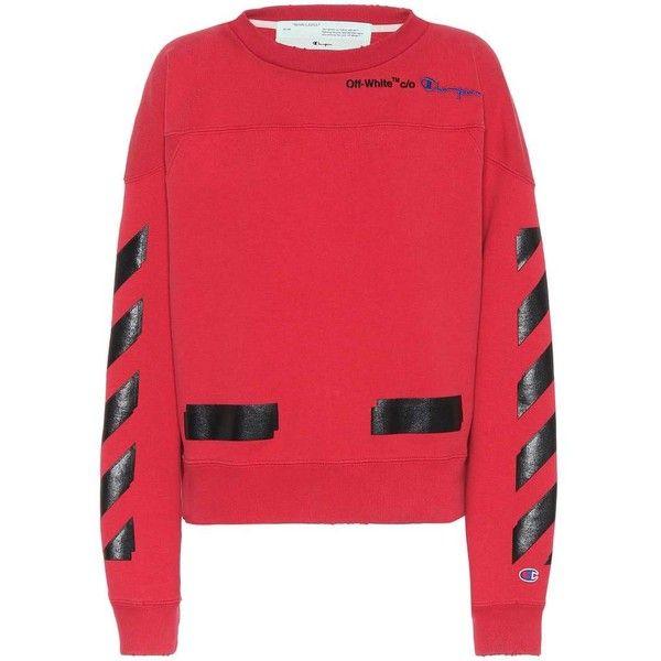Off White X Champion Printed Sweatshirt 585 Liked On Polyvore Featuring Tops Hoodies Sweatshir Off White Sweatshirt Red Long Sleeve Tops Red Sweatshirts