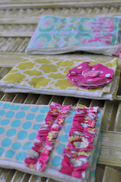 DIY Burp Cloths....my mom is a pro at making these, but love the ruffles for a girlie girl!