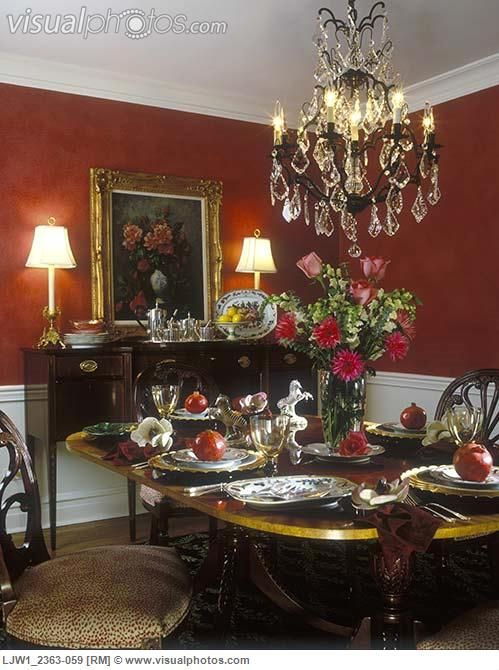 Love The Red Walls Wainscotting Beautiful Furniture All Of It Find This Pin And More On Formal Dining Rooms
