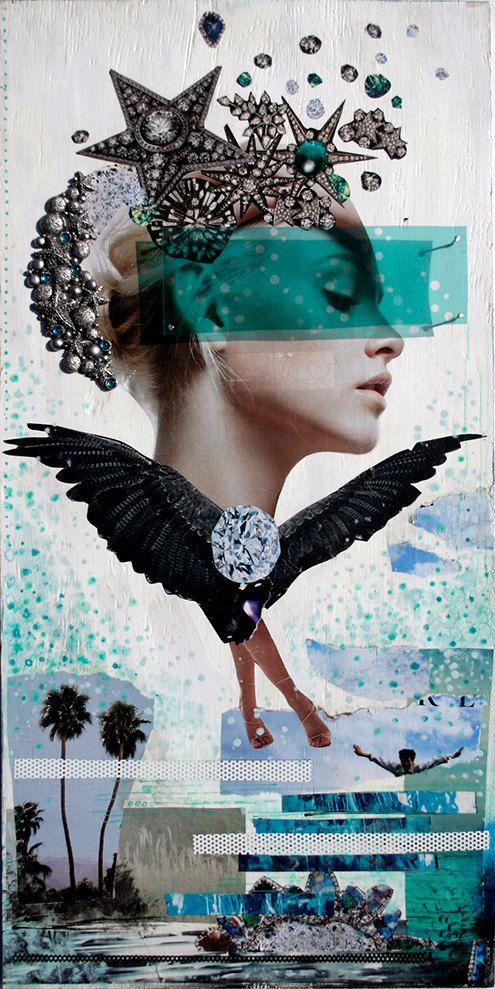 Rapt - Mixed Media Collage - Digital Print