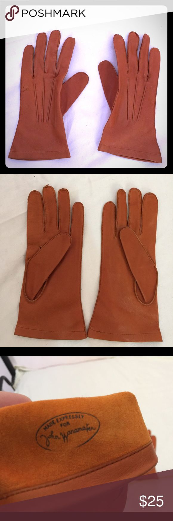 Ladies coloured leather gloves - Vintage Soft Brown Leather Gloves John Wanamaker Vintage Ladies Soft Brown Tan Leather Gloves Rare From