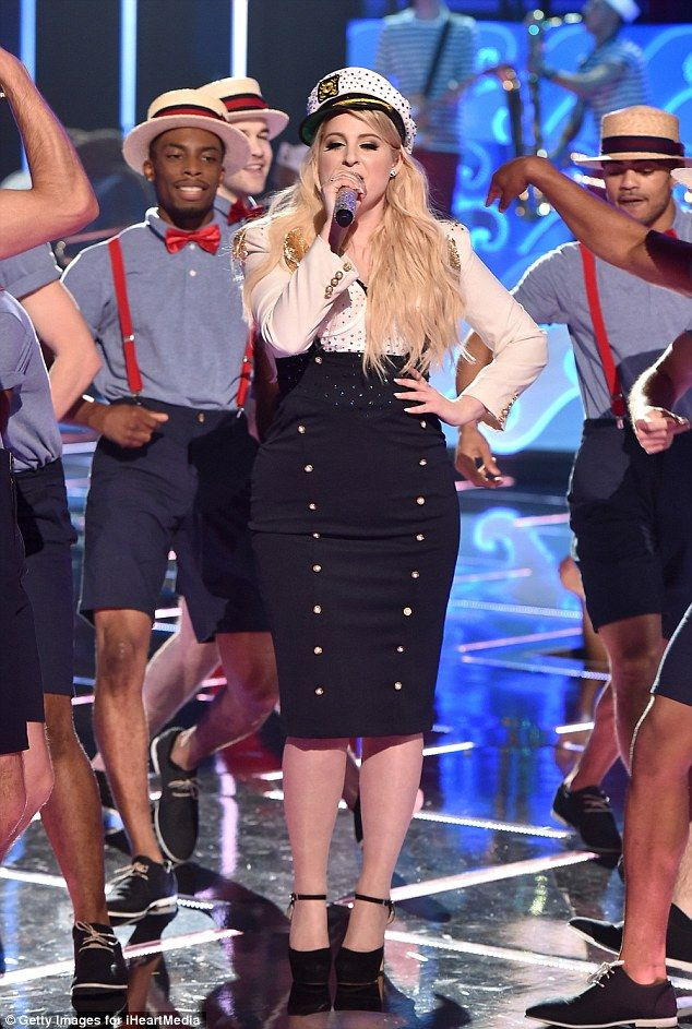 All about me: Meghan Trainor performed her new track Dear Future Husband at the iHeartRadio Music Awards in Los Angles on Sunday