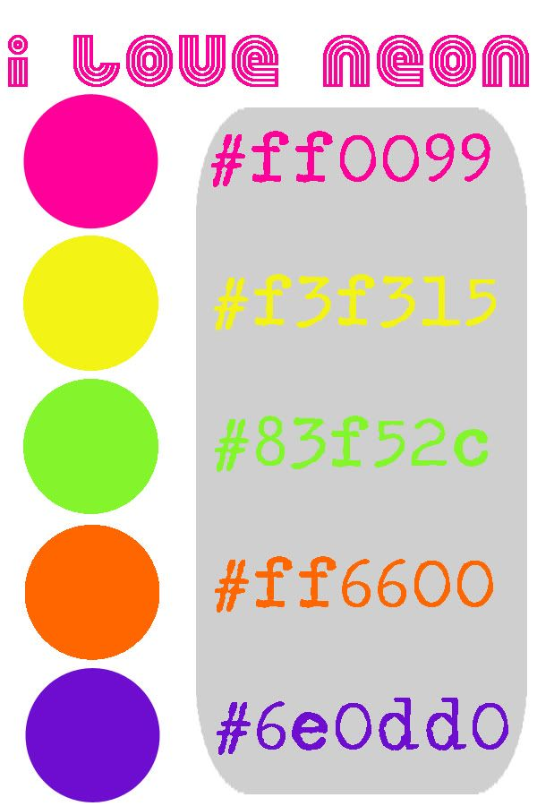 Fluorescent or Neon colors HEX numbers