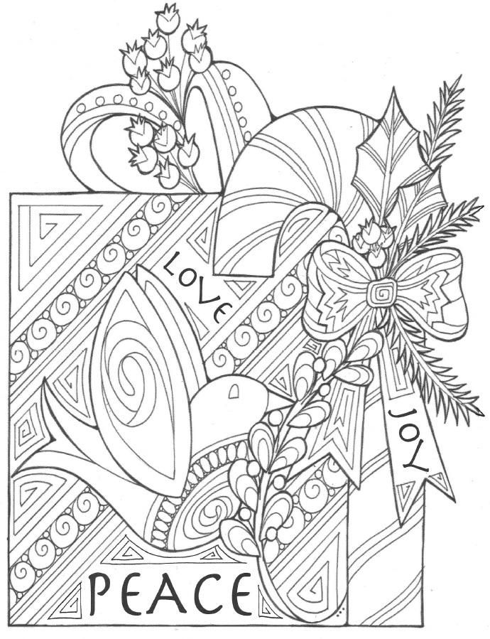 The Gift of Peace, Love, and Joy Coloring Page | Adult coloring ...
