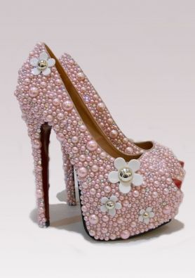 PINK DAISY SHOES on Chiq http://www.chiq.com/jcouture/pink-daisy-shoes
