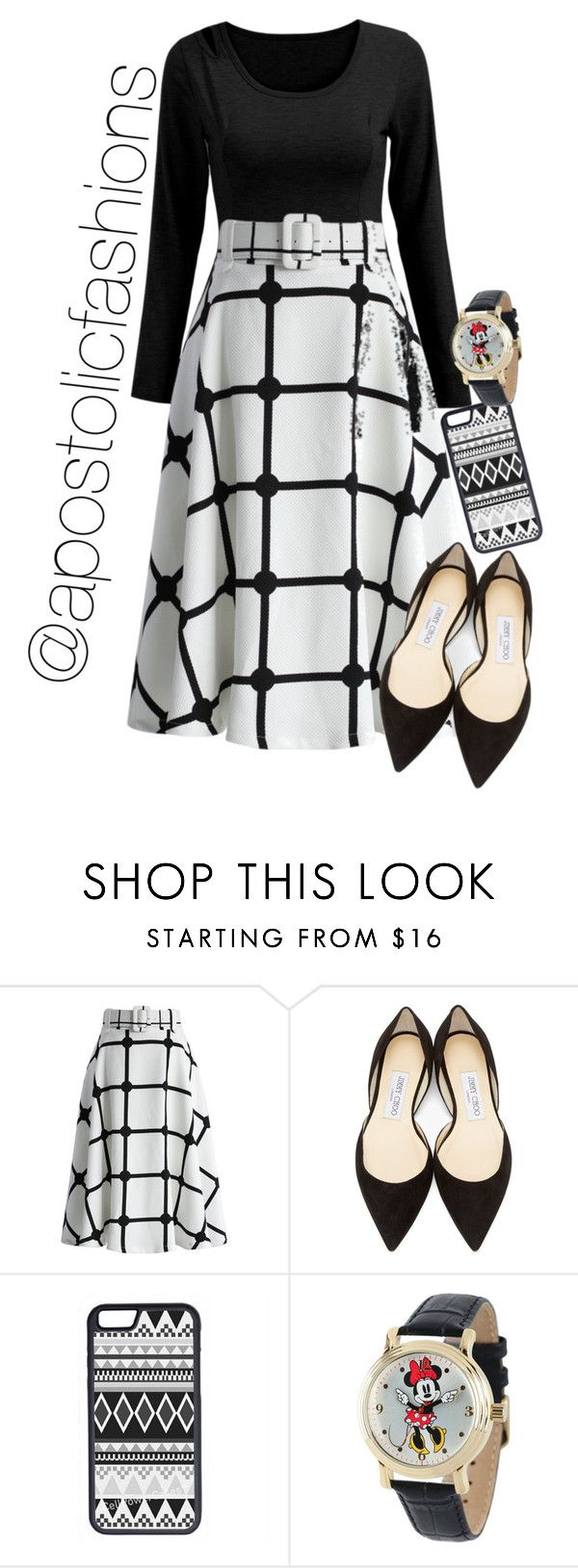 """Apostolic Fashions #1406"" by apostolicfashions on Polyvore featuring Chicwish, Jimmy Choo, CellPowerCases and Disney"