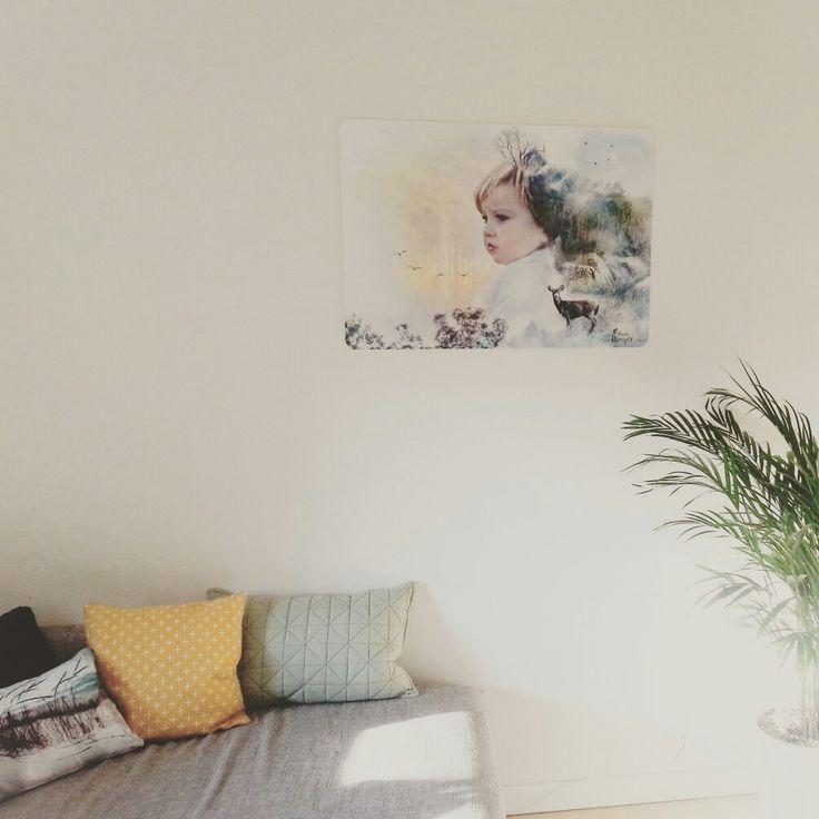 Zelfgemaakte wanddecoratie aan de muur van mijn dochter. Trots.