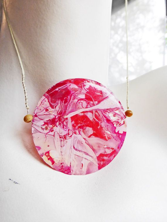 Handmade Round Resin Coated Long Pink and White Marbled Necklace by FragmentsOfMyrh on Etsy