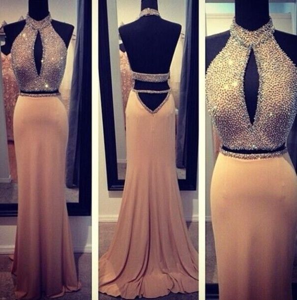 dress dess long dress long dresses prom prom desses homecoming dress formal dress formal party dresses long prom dress sequin dress sparkles glitter sleeveless gold dress prom dress prom gown beige dress open back prom dress jewels two-piece halter dress sexy halter neck backless prom dress backless dress cut-out
