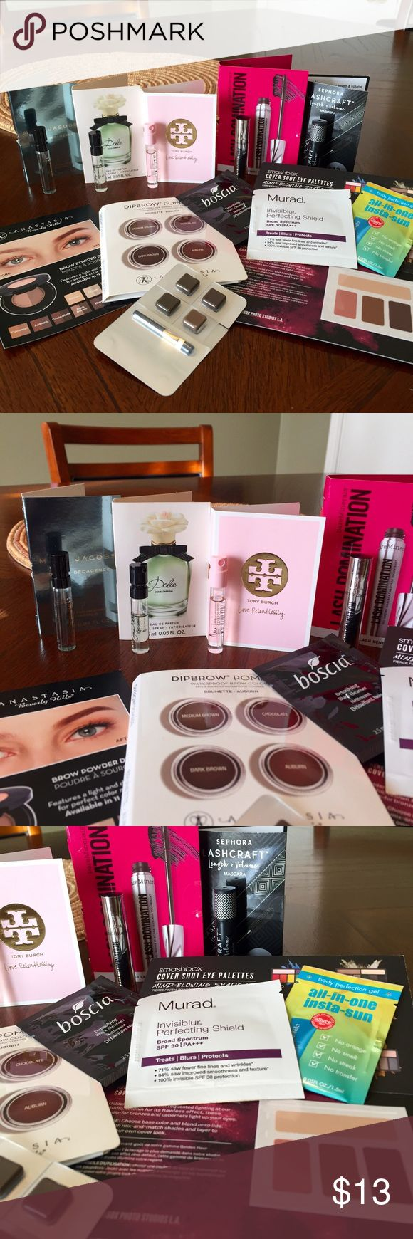 High end make up sample bundle High end make up sample bundle! Includes Anastasia Beverly Hills brow powder duo in dark brown and dipbrow pomade in dark brown, medium brown, and chocolate. Marc Jacobs Devine decadence, dolce & gabana dolce, Tory burch love relentlessly perfumes, murad invisiblur perfecting shield, boscia detoxifying black cleanser, body perfecting gel Insta-sun, smashbox cover shot eyeshadows, bare minerals lash domination mascara , and Sephora lash craft mascara. DISCOUNTS…