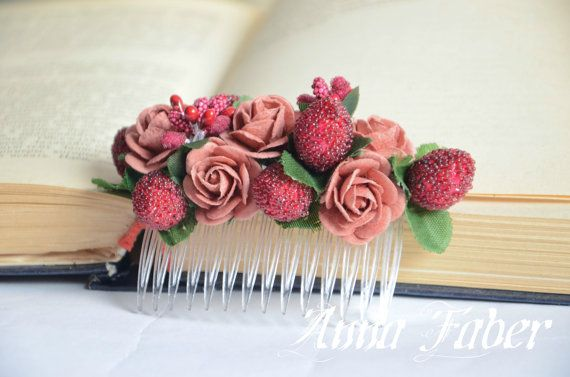 Bridal Headpiece Bridal Hair Flower Foam Comb by FaberAccessories