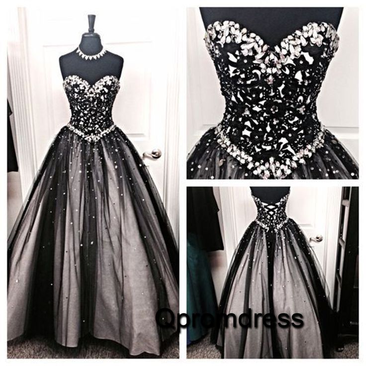 Sparkly beaded black tulle long poofy sweetheart dress for prom 2016, ball gown, formal dress