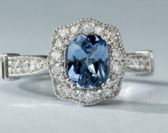 Anillo de compromiso de zafiro azul, cojín de corte zafiro y anillo de compromiso diamante, sólido 14 k oro blanco