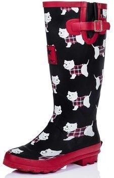 Spylovebuy IGLOO Knee High Flat Festival Wellies Rain Boots - Westie Dog Black