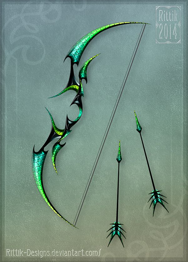 Dragon's Bow by Rittik-Designs archery weapon arrows equipment gear magic item   Create your own roleplaying game material w/ RPG Bard: www.rpgbard.com   Writing inspiration for Dungeons and Dragons DND D&D Pathfinder PFRPG Warhammer 40k Star Wars Shadowrun Call of Cthulhu Lord of the Rings LoTR + d20 fantasy science fiction scifi horror design   Not Trusty Sword art: click artwork for source