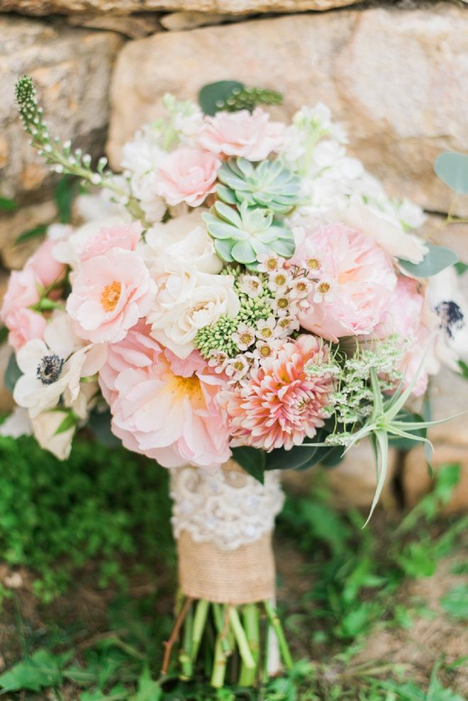 Gorgeous white, pink and pale green rustic wedding bouquet!
