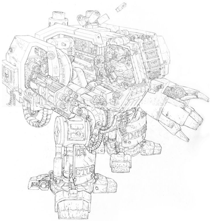 this art uses varying shading techniques to give a sense of age and wear to the bot sketch dreadnought cross section by penuser on deviantart