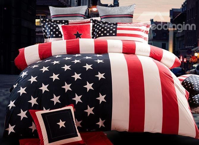 Amerikaanse Vlag Beddengoed Set Kingsize Bed Usa Taart Linnen Katoenen Bed King Bedding Sets Luxury Bedding Set