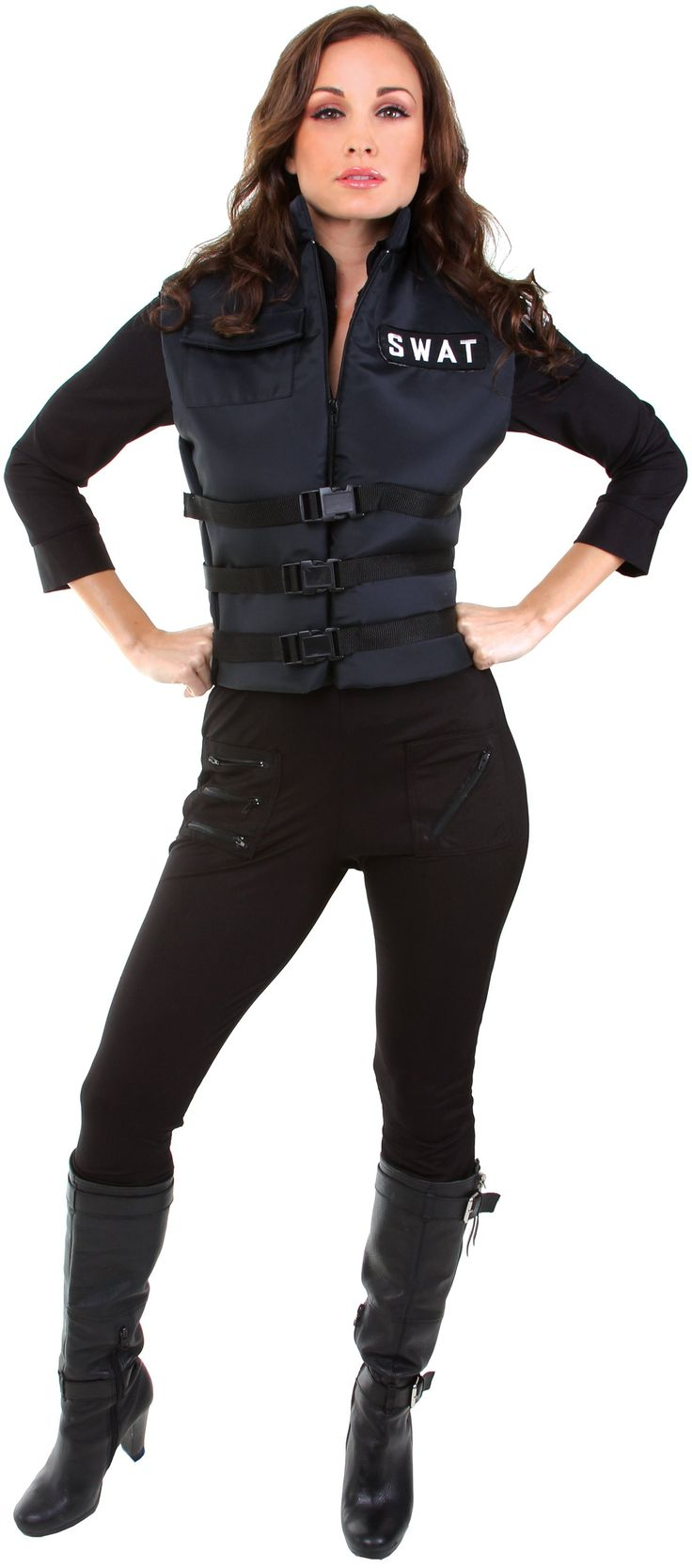 this listing is for lady swat adult costume costume includes black jumpsuit and vest does not include shoes - Girls Cop Halloween Costume