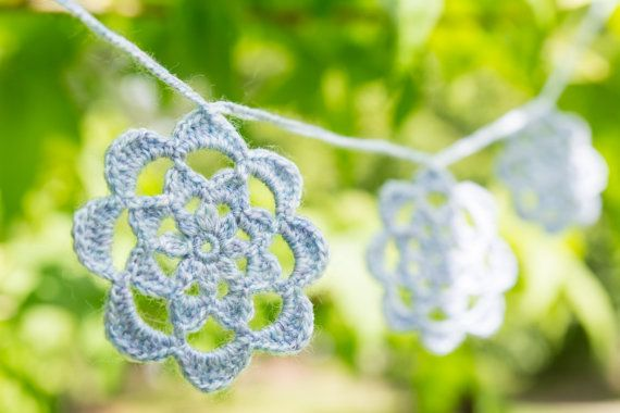 Crochet flower garland crochet bunting lilac by TheSnowflakeTree