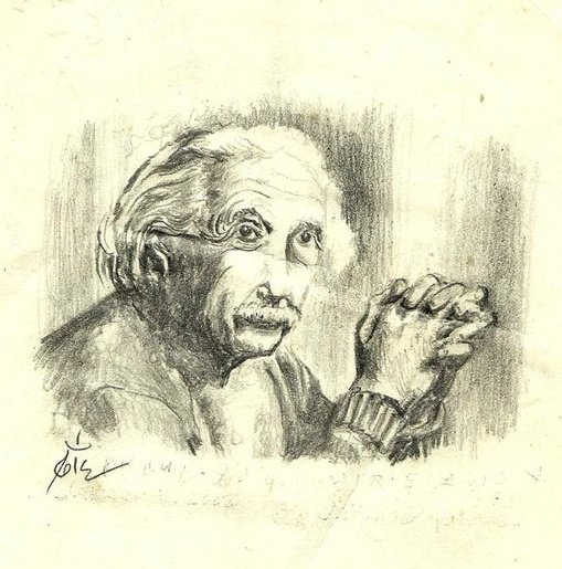 A. Einstein, pencil on paper