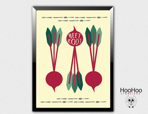 Printable Beetroot poster vegetable poster by HooHooCreations
