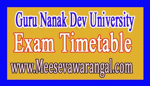 Guru Nanak Dev University BA / B.Sc Part-2 Dec 2016 Exam Time Table
