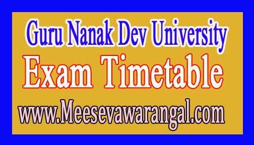 Guru Nanak Dev University BA / B.Sc Part-3 Dec 2016 Exam Time Table