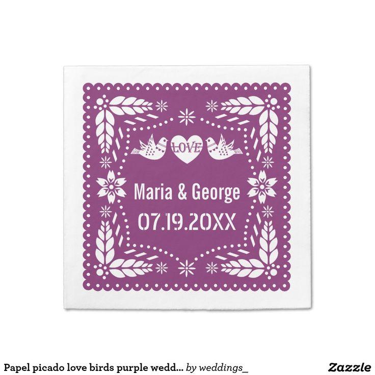 Papel picado love birds purple wedding fiesta paper napkin  sc 1 st  Pinterest & 185 best Favor boxes paper napkins paper plates envelopes gift ...